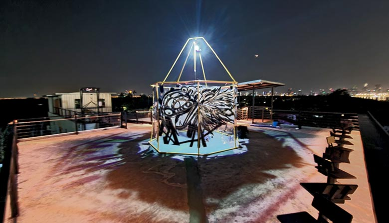 360 vr art installation graffiti dome on rooftop creating cool shadows