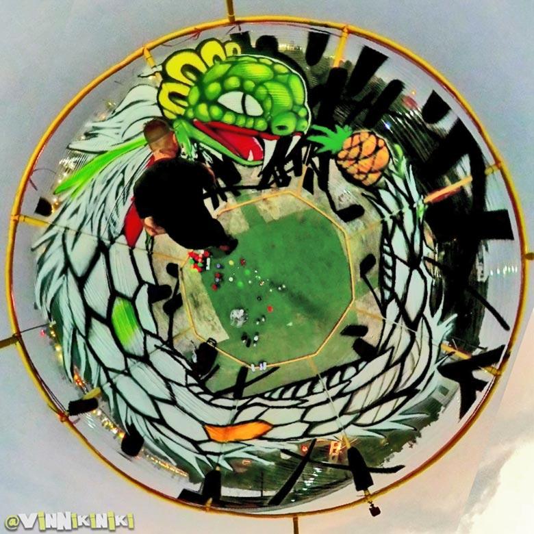 ouroboros painting in panoramic 360 camera capture graffiti art mural