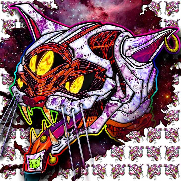 ViNNiKiNiKi digital psychedelic NFT LSD cat with three eyes dropping acid art