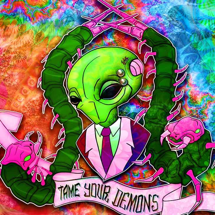 ViNNi KiNiKi digital psychedelic NFT art alien wearing a suit flanked by 2 giant centipede
