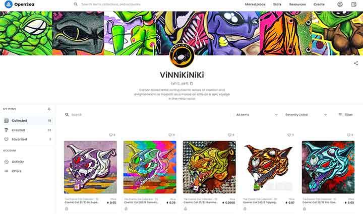 Opensea NFT artist profile Vinni Kiniki